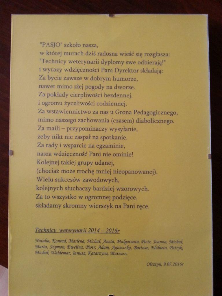 Wiersz otrzymany od absolwentów